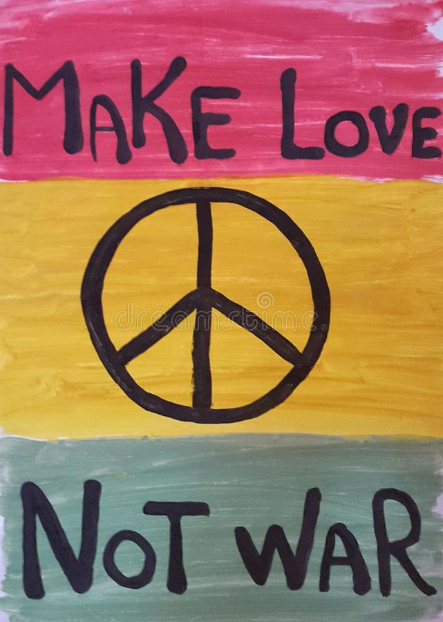 Un manifesto è colourful su una pace di tema fotografie stock libere da diritti
