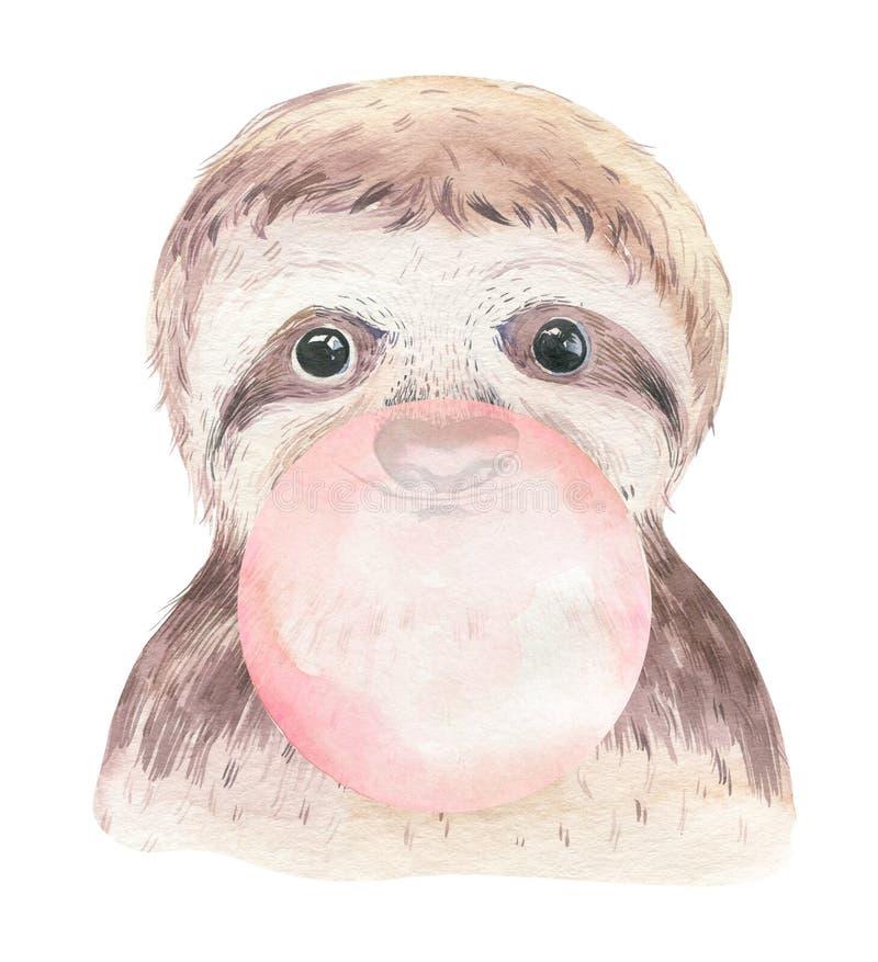 Un manifesto con un bradipo del bambino Illustrazione animale tropicale di bradipo del fumetto dell'acquerello Stampa esotica di  fotografia stock libera da diritti