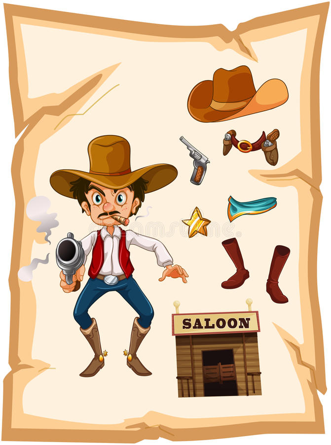 Un manifesto con un cowboy anziano munito e una barra di salone illustrazione vettoriale