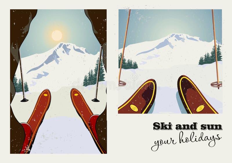 Un manifesto d'annata di vettore di due immagini Sciatore che si prepara per discendere la montagna Priorità bassa di inverno illustrazione vettoriale