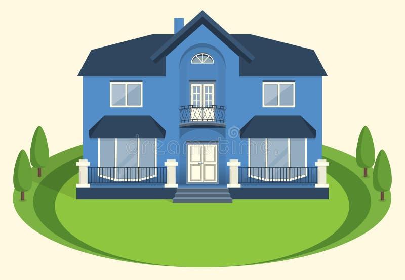 Un manoir à deux étages bleu avec un balcon et de grandes fenêtres Vecteur illustration libre de droits