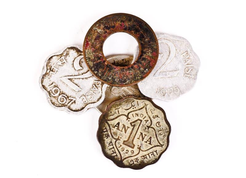 Un manojo de monedas indias antiguas fotografía de archivo libre de regalías