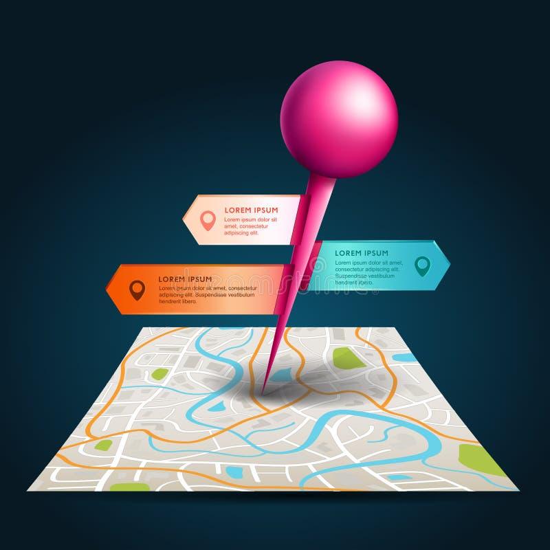 Un mapa de la ciudad con los gps por satélite fija el punto con la etiqueta y la etiqueta ilustración del vector