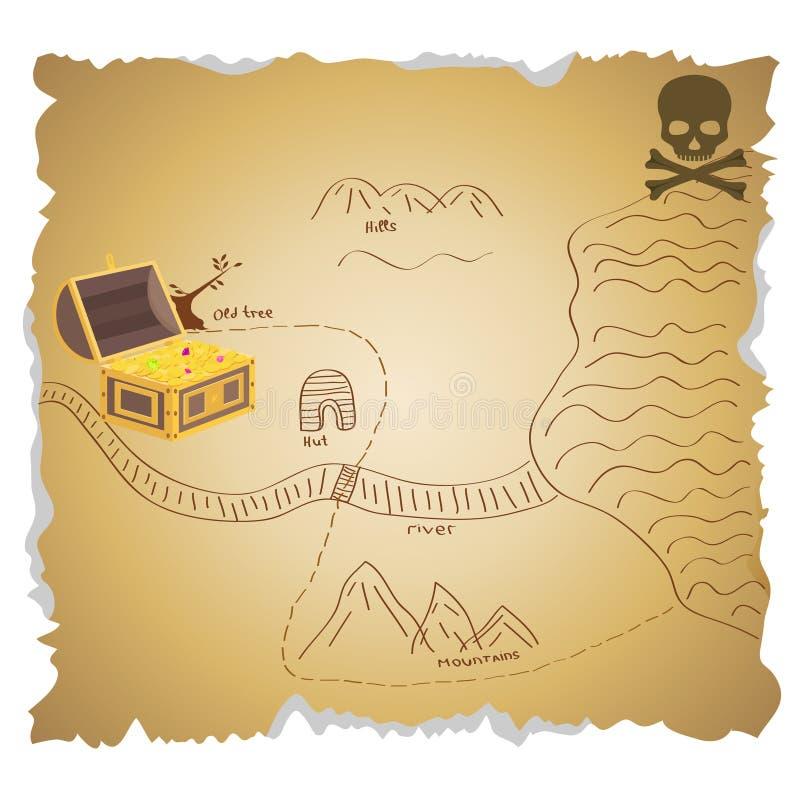 Un mapa de los tesoros del pirata con un tesoro Un mapa viejo del tesoro del pirata stock de ilustración