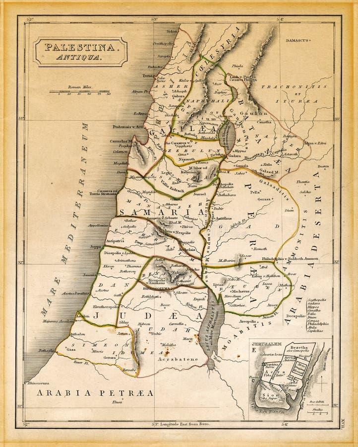 El mapa antiguo de Palestina imprimió 1845 fotografía de archivo