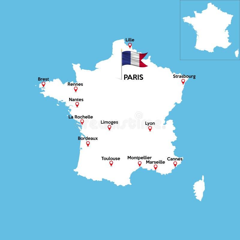 Un mapa detallado de Francia ilustración del vector