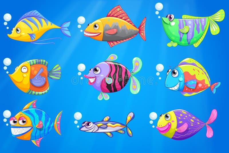 Un mar con una escuela de pescados coloridos ilustración del vector