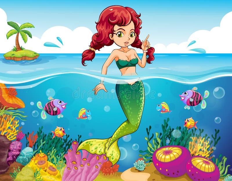 Un mar con una sirena libre illustration