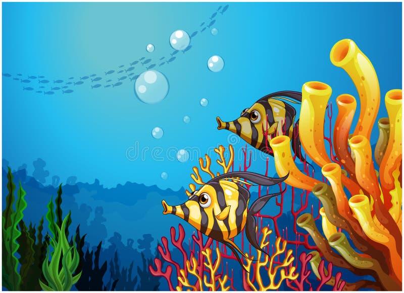 Un mar profundo con los arrecifes de coral y los pescados hermosos stock de ilustración