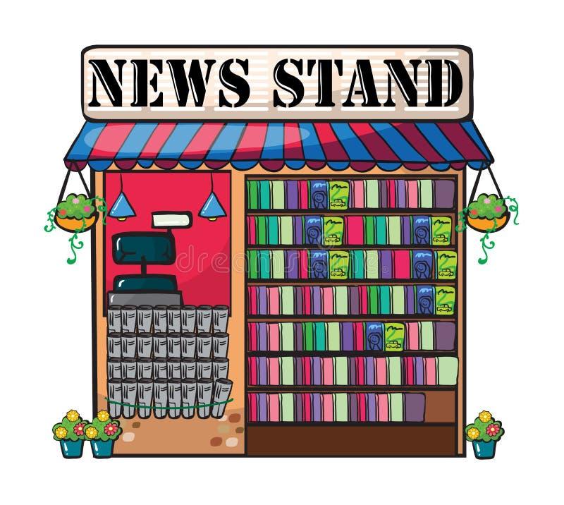 Un marchand de journaux d'actualités illustration de vecteur