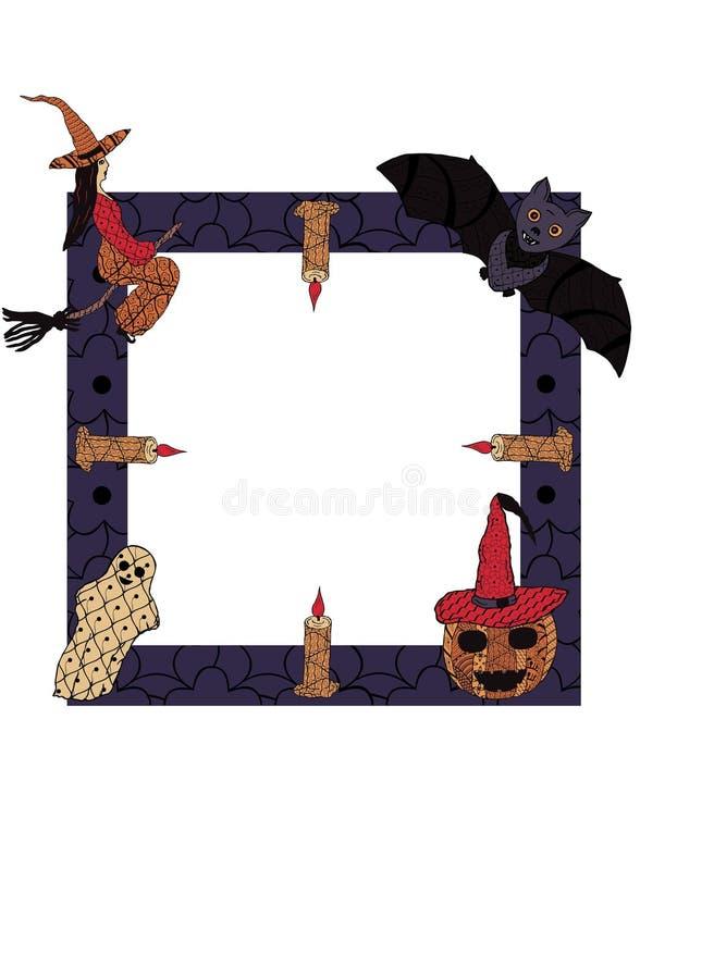 Un marco cuadrado con una bruja en un palo de escoba, velas, un palo, un fantasma, una calabaza sonriente en un casquillo del ` s stock de ilustración