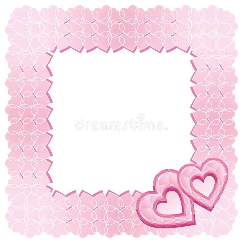 Un marco de dos corazones rosados del diamante ilustración del vector