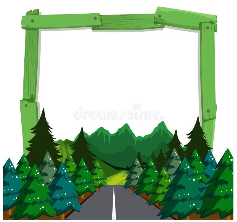 Un marco de madera del bosque ilustración del vector
