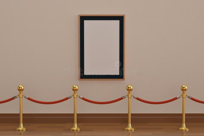 Un marco de madera en la pared con las barreras de la cuerda del soporte illu 3d ilustración del vector
