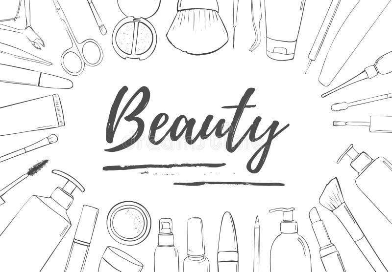 Un marco de productos cosméticos Plantilla blanco y negro para el blog de la belleza, tienda, salón del balneario Lugar para el t stock de ilustración