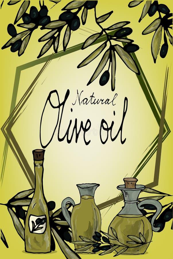 Un marco de varias líneas en el fondo de ramas del olivo y de botellas con aceite Espacio para el texto Mano del vector ilustración del vector