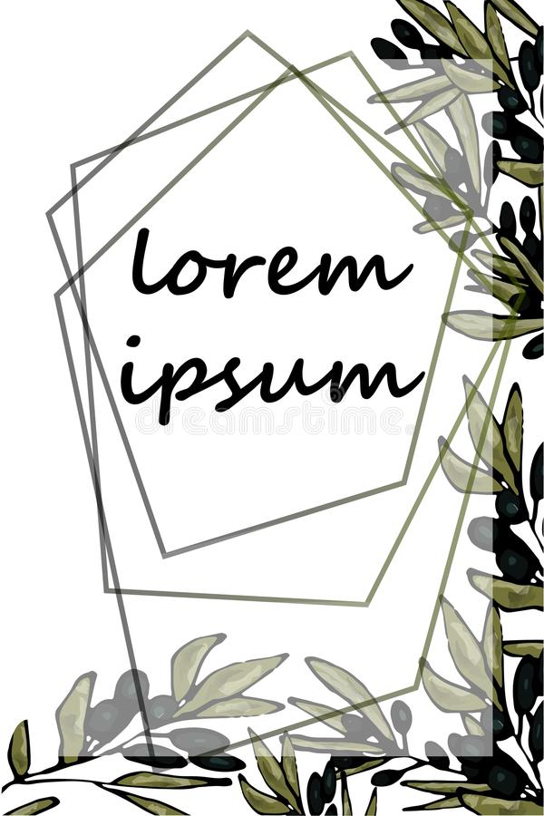 Un marco de varias líneas poligonales en el fondo de ramas del olivo Espacio para el texto Vector a mano libre illustration