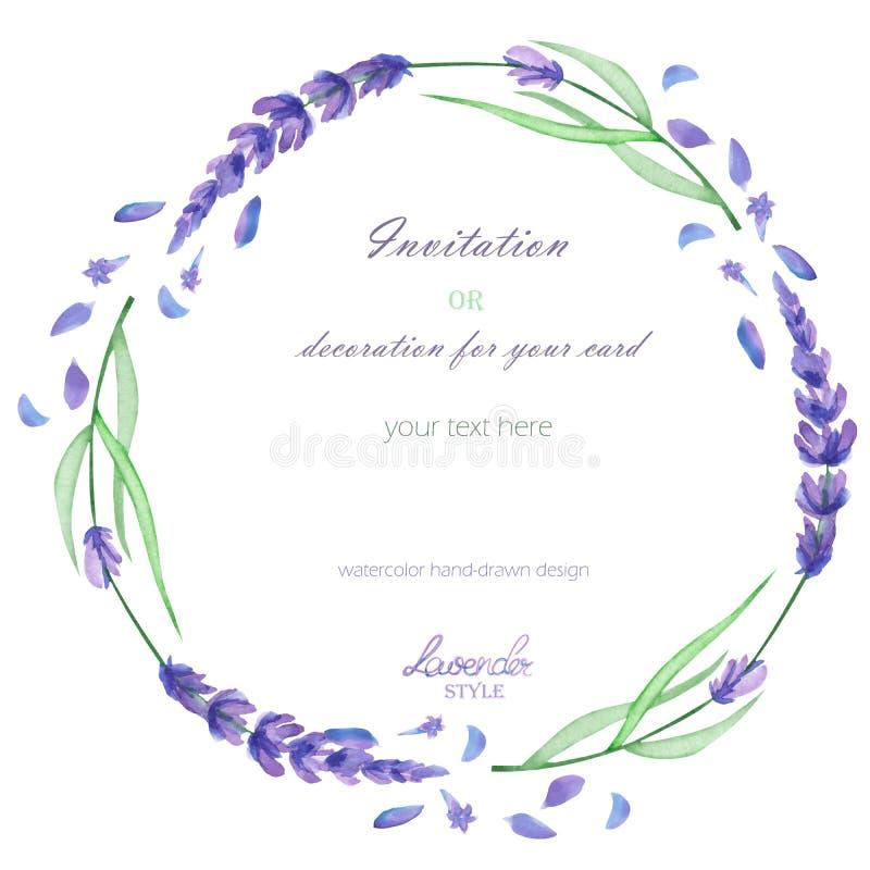 Un marco del círculo, guirnalda, frontera del marco con la lavanda de la acuarela florece, casandose la invitación stock de ilustración