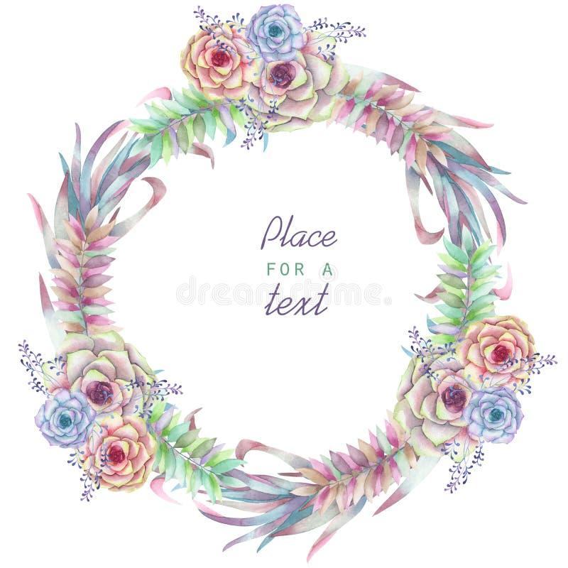 Un marco del círculo, guirnalda, frontera del marco con las flores de la acuarela y succulents, casandose la invitación libre illustration
