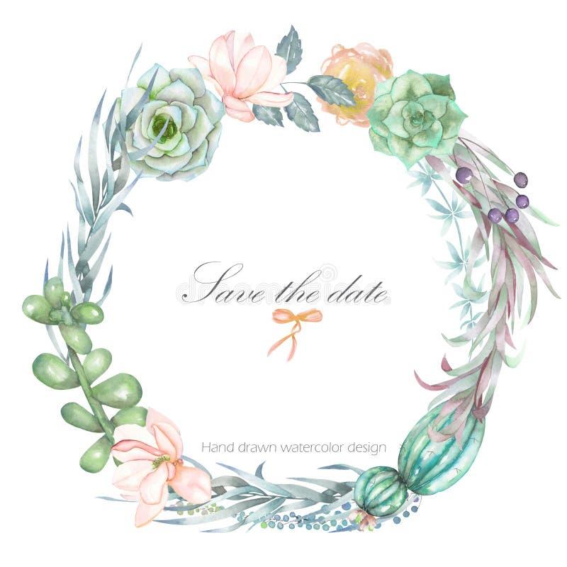 Un marco del círculo, guirnalda, frontera del marco con las flores de la acuarela y succulents, casandose la invitación ilustración del vector