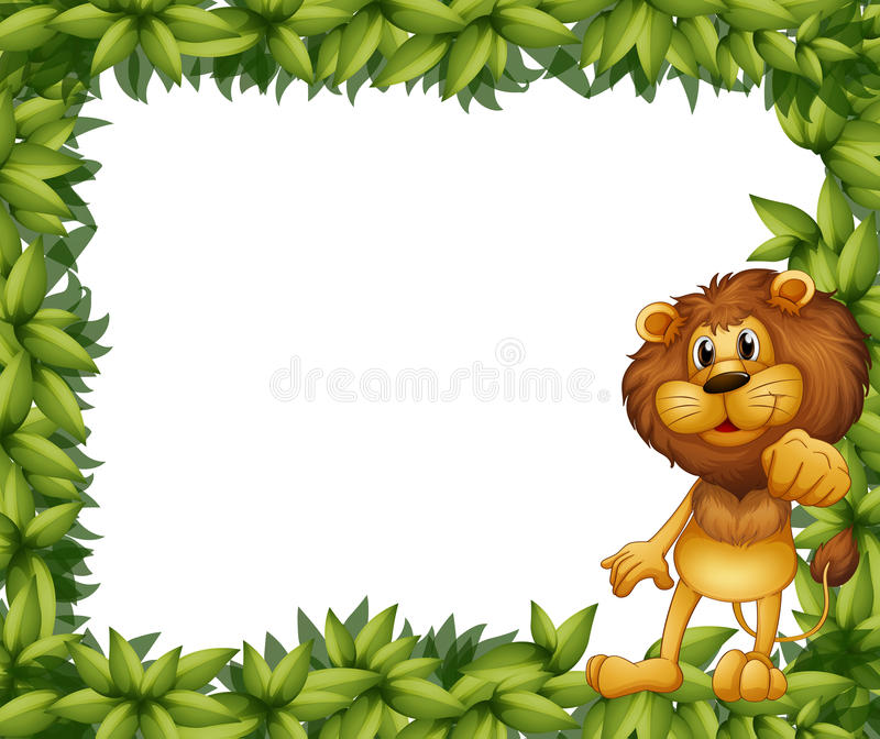 Un marco frondoso verde con un león ilustración del vector
