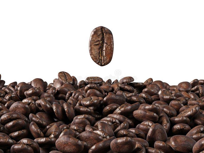 Un mare dei chicchi di caffè su un fondo bianco illustrazione di stock