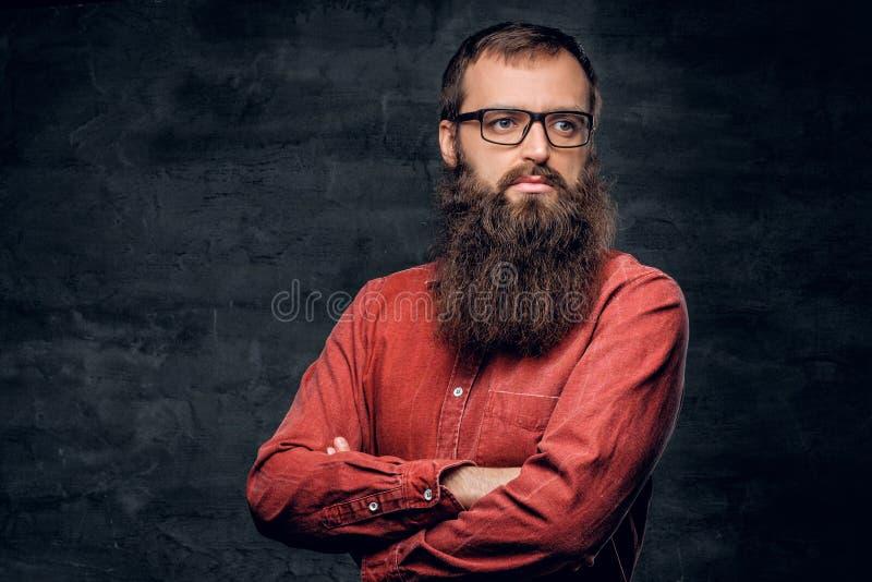 Un maschio barbuto in occhiali si è vestito in una camicia rossa fotografia stock libera da diritti