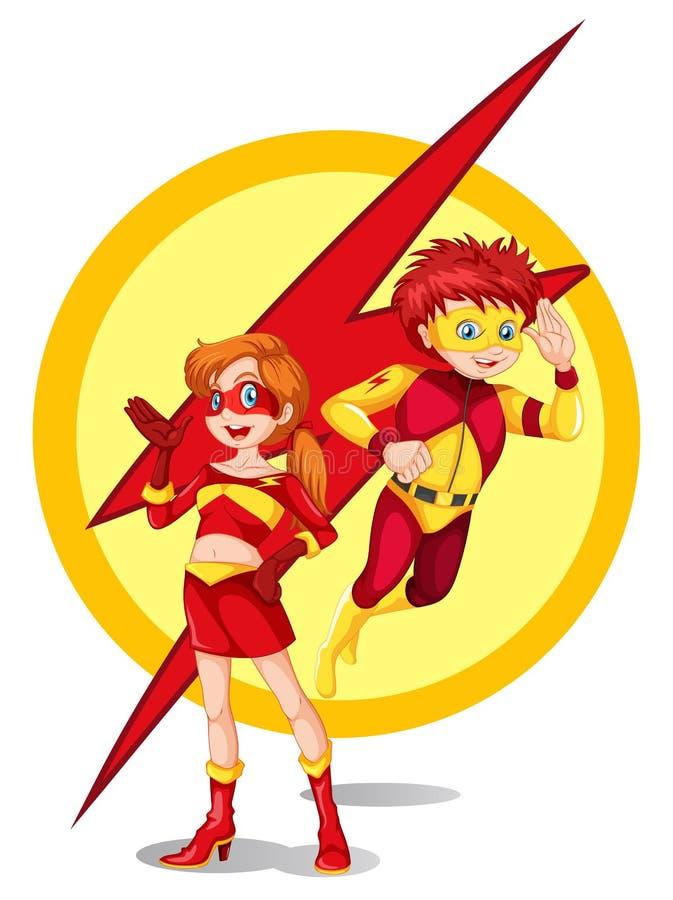 Un maschio e un supereroe femminile royalty illustrazione gratis