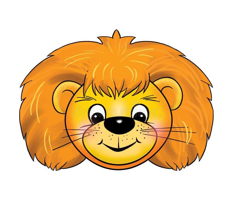 Un masque de petit animal de lion, carnaval, les événements des enfants, bande dessinée illustration de vecteur