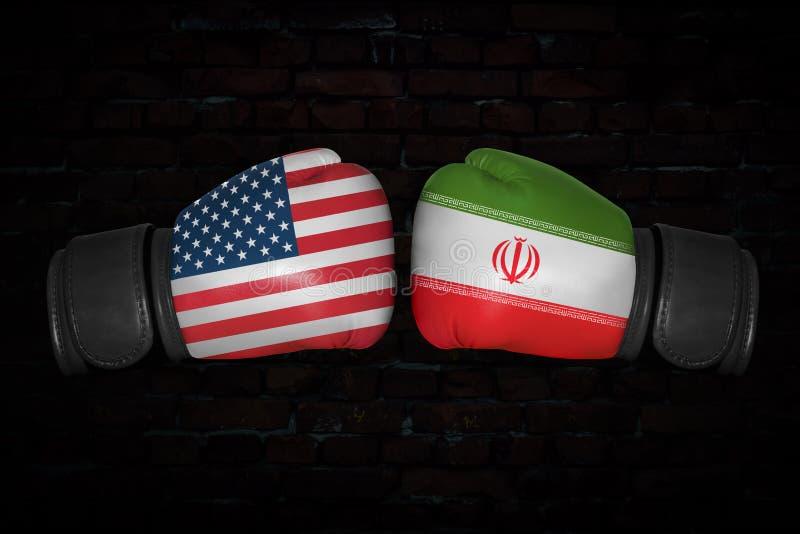 Un match de boxe entre les Etats-Unis et l'Iran illustration libre de droits