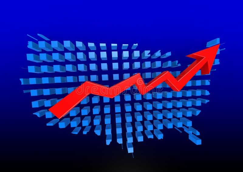 Mappa blu degli Stati Uniti con il grafico ascendente illustrazione di stock