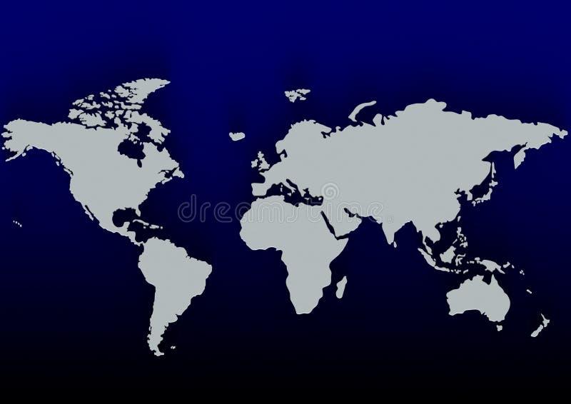 Mappa di mondo blu illustrazione di stock