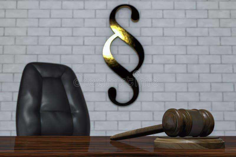 Un mazo en una sala de tribunal ilustración del vector
