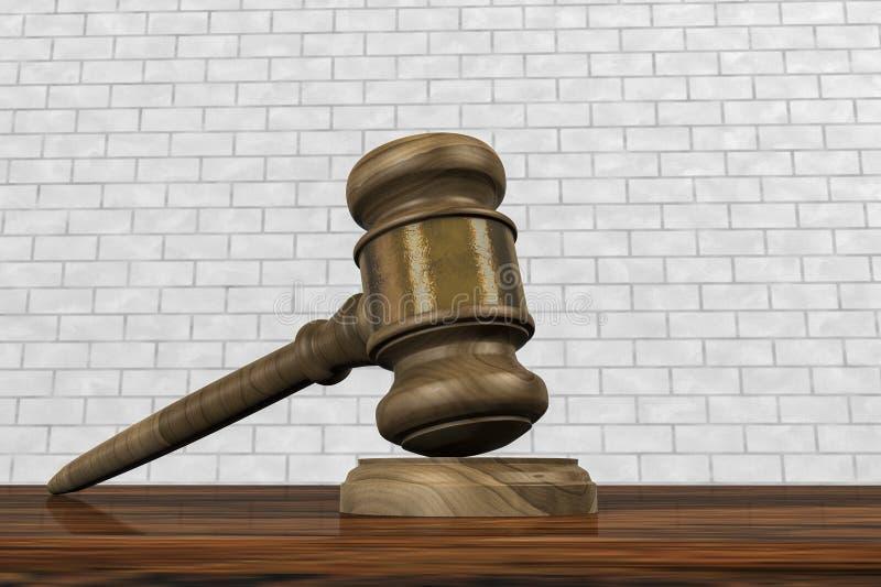Un mazo en una sala de tribunal stock de ilustración