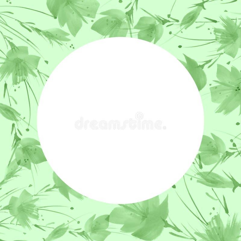 Un mazzo dei fiori verdi, dente di leone, papavero una spruzzata di pittura Disegno dell'acquerello, illustrazione Cartolina d'au royalty illustrazione gratis