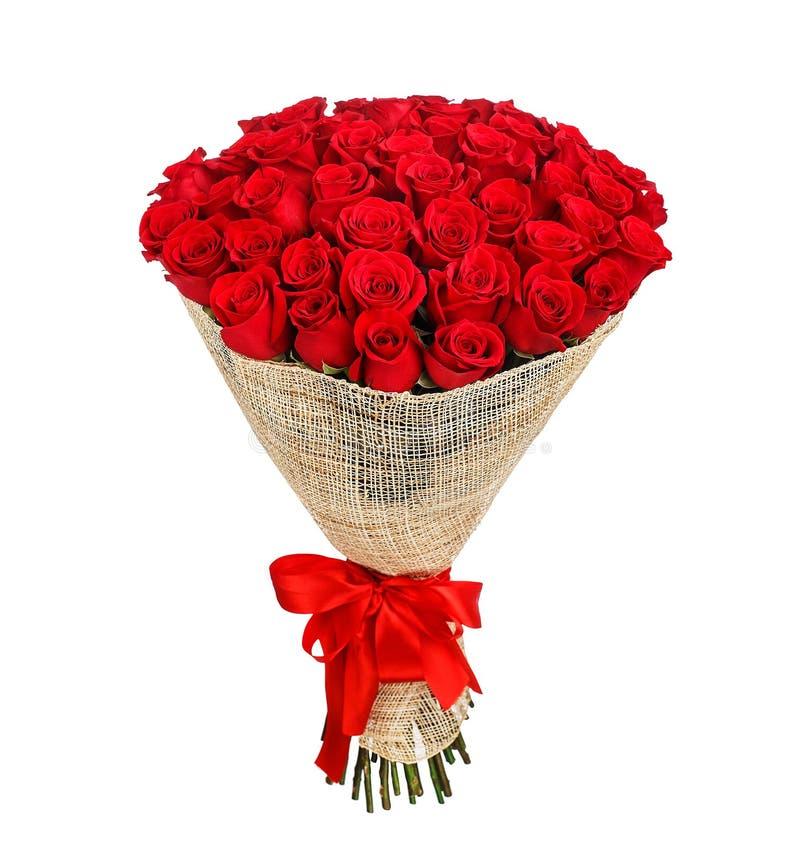 Un mazzo del fiore di 50 rose rosse fotografia stock libera da diritti