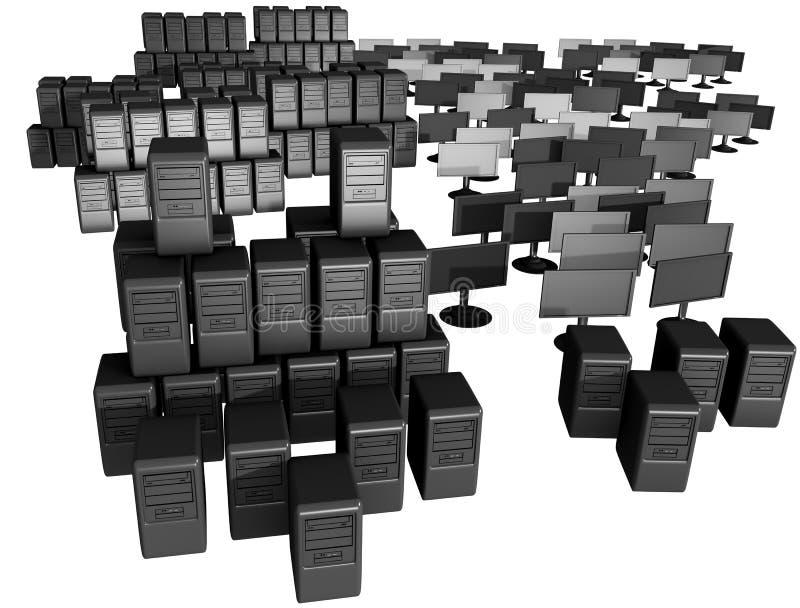 Un mazzo di calcolatori e di videi illustrazione di stock