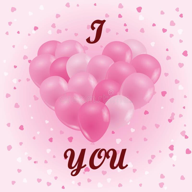 Un mazzo di palloni Palloni rosa sotto forma di un cuore Lo i royalty illustrazione gratis