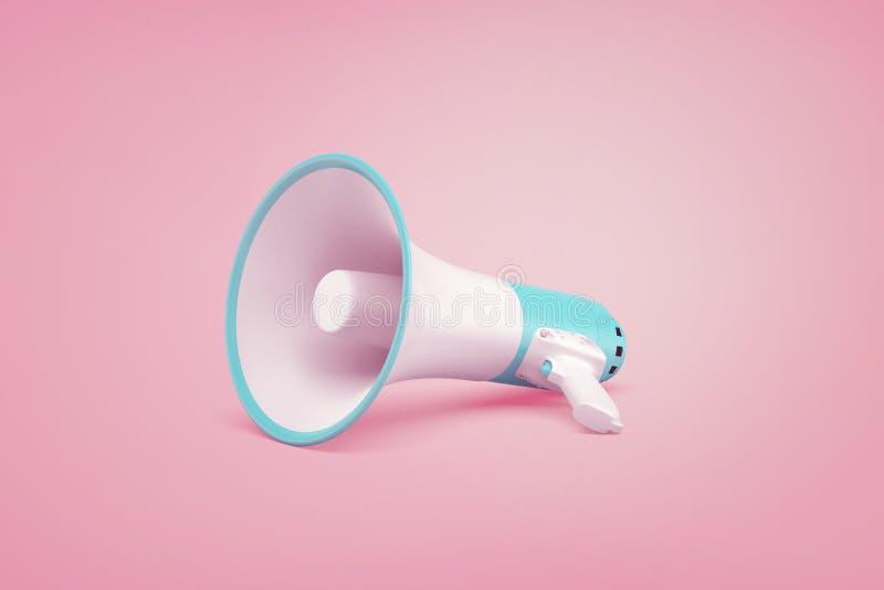 Un megafono senza cordone portatile bianco e blu si trova su un fondo di rosa pastello illustrazione di stock