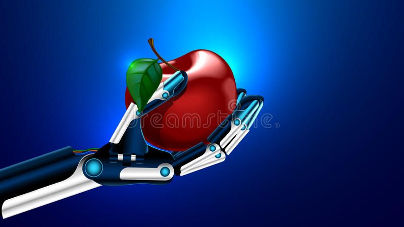 Un membre artificiel tenant une pomme - concept médical de technologie de prosthétique illustration libre de droits
