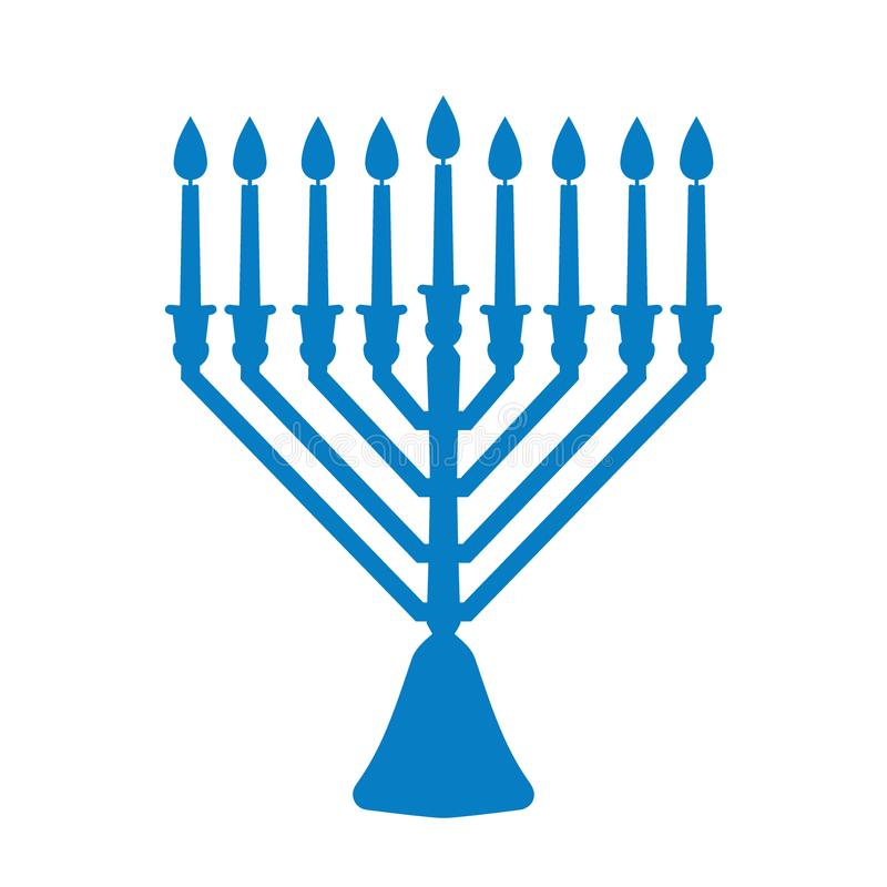 Un menorah traditionnel pour le festival juif de Hanoucca Icône bleue de silhouette d'isolement sur le fond blanc Illustration de illustration stock