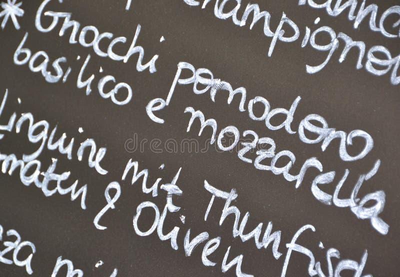 Un menu avec l'offre du jour photos stock