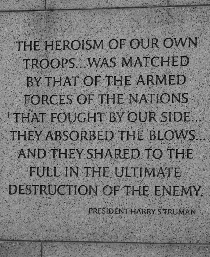 Un messaggio da presidente Truman al monumento di WWII in Washington DC fotografie stock