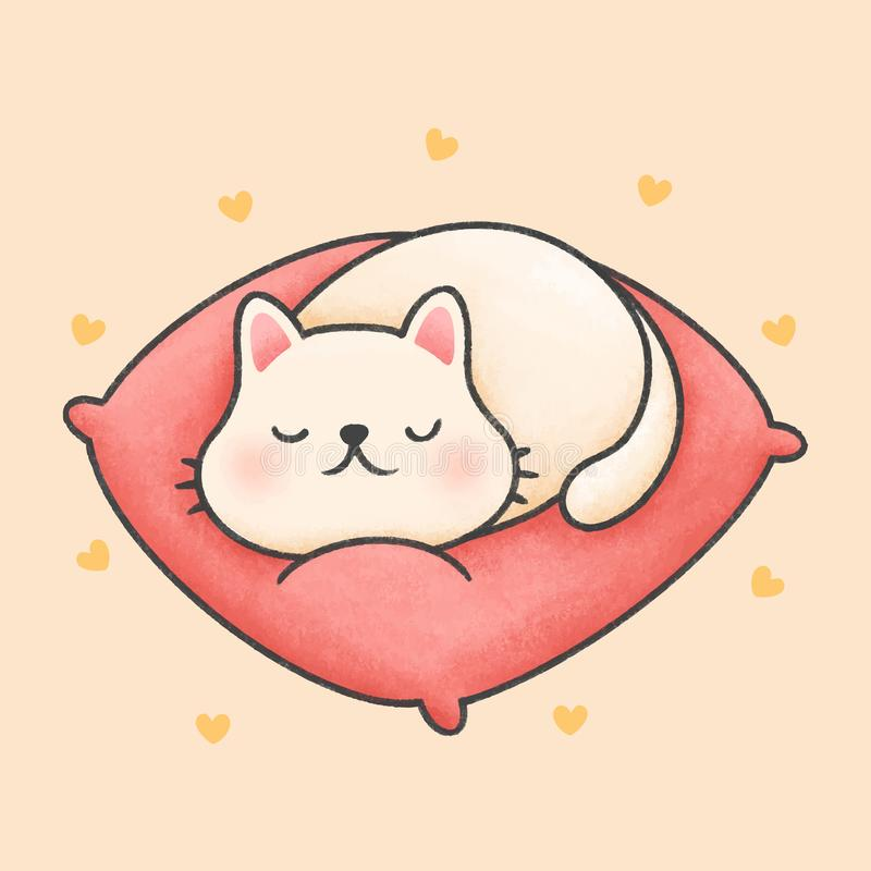 Un mignon chat dort sur un coussin rose dessiné à la main illustration libre de droits