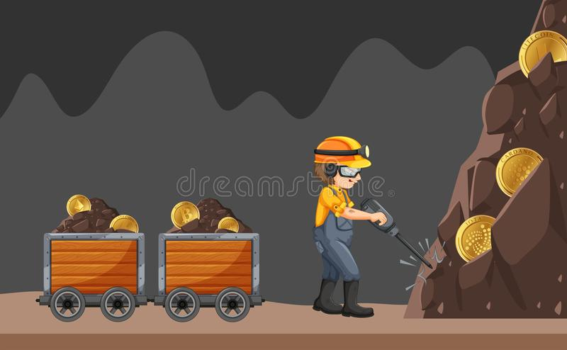 Un minatore su fondo bianco illustrazione di stock