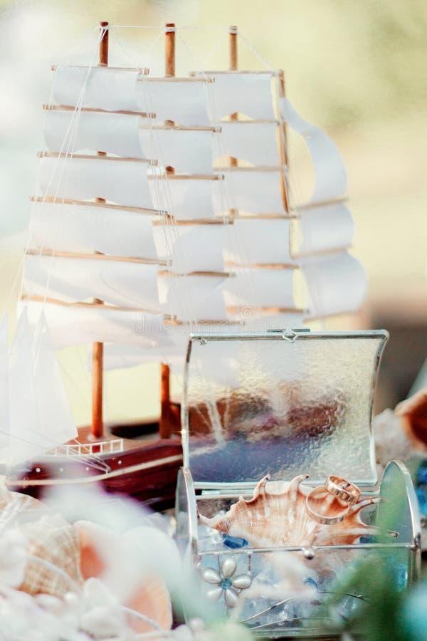 Un modèle d'un bateau et des coquillages de navigation dans une boîte en verre image stock