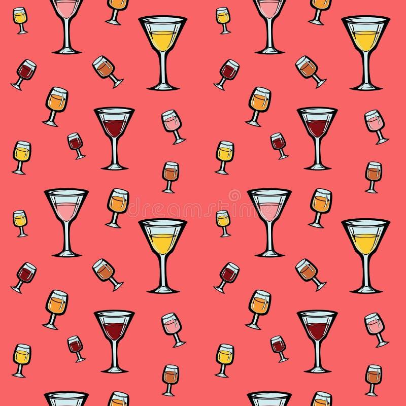 Un modèle sans couture avec du vin et des cocktails illustration libre de droits