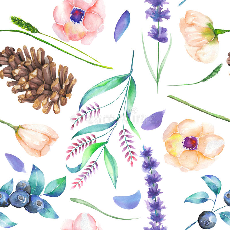 Un modèle sans couture avec un ornement floral des éléments de forêt d'aquarelle : baies, cônes, lavande, wildflowers et branches illustration de vecteur