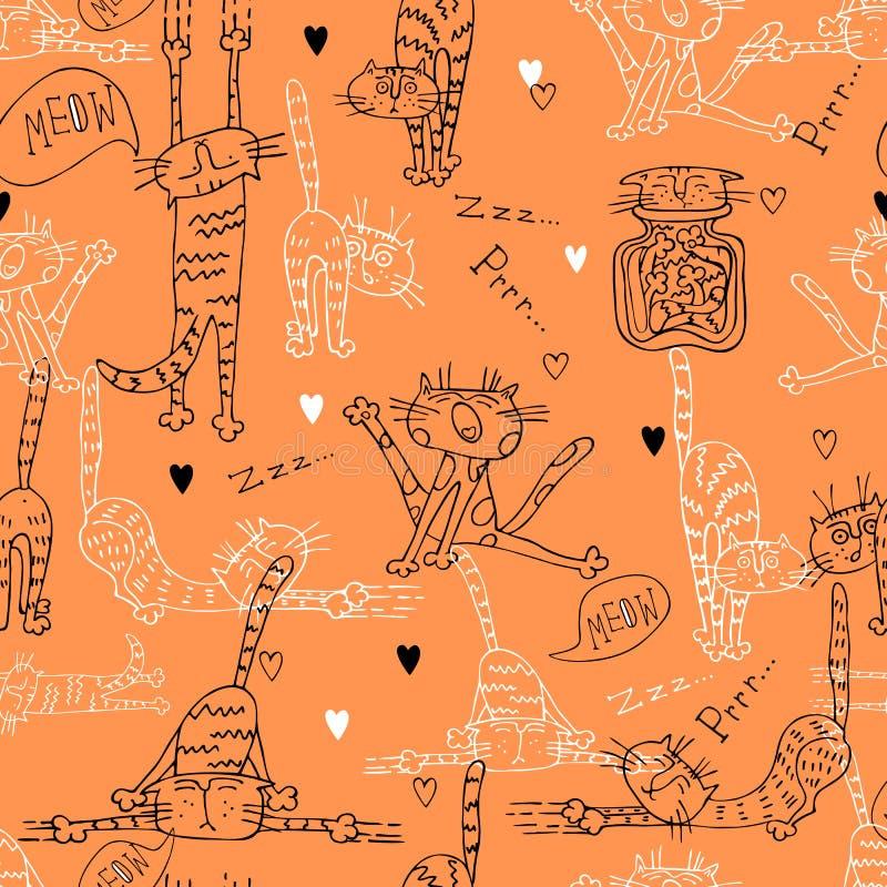 Un modèle sans couture d'amusement avec les chats mignons sur un fond orange illustration de vecteur