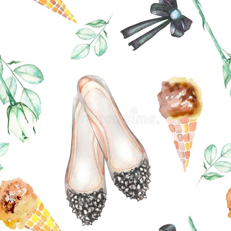 Un modèle sans couture d'aquarelle avec les éléments romantiques des femmes : crème glacée, chaussures de ballet roses de fleur,  illustration de vecteur